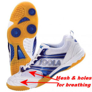 table tennis shoes breathing