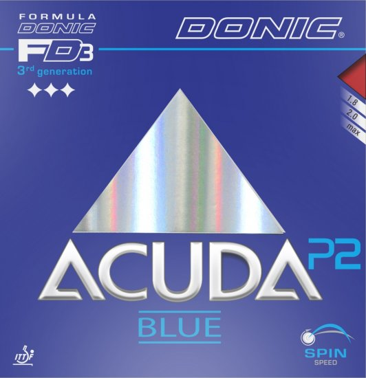 Donic Acuda Blue P2 - extreme grip for Plastic ball - Click Image to Close