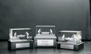 Donic 3D crystal glass block trophy with motif