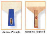 Penhold table tennis blade handle shapes